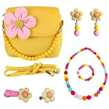 CMK TRENDY KIDS Kids Plush Flower Handbag Set with Hair Clip + Necklace + Bracelet + Earrings + Ring Small Purse for Little Girls and Toddlers (82000_Yellow)
