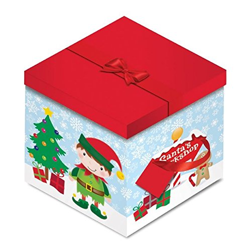 Christmas Elf Snata Workshop Square Glitter Gift Box Storage Gift Kids Children Tree Xmas Festive Present Wrap Bag Bow Ribbon Handle Lid Decoration Fun Concept4u
