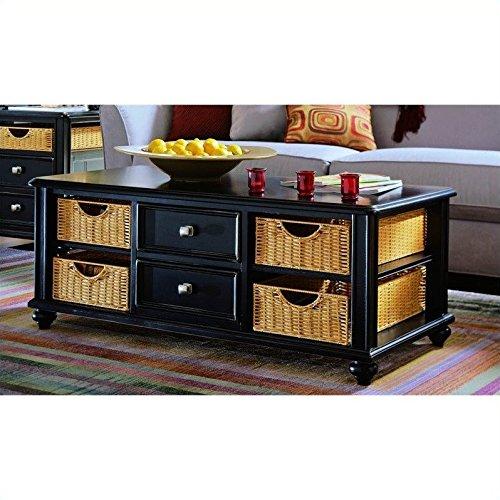 American Drew Camden Black Coffee Table with Wicker Baskets in -