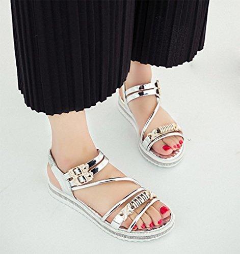 mujeres de las sandalias del verano del rhinestone de los zapatos de cuero sandalias de patente hebilla hembra confortables estudiantes Silver