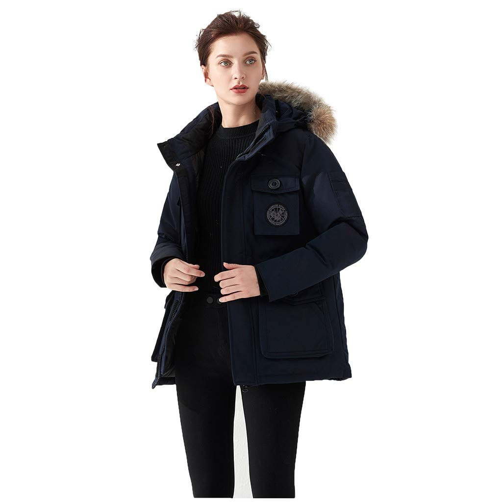 Dermanony Women's Down Coat Winter Warm Large Size Pockets Casual Down Jacket Faux Fur Collar Loose Thick Hooded Coat Navy by Dermanony _Coat