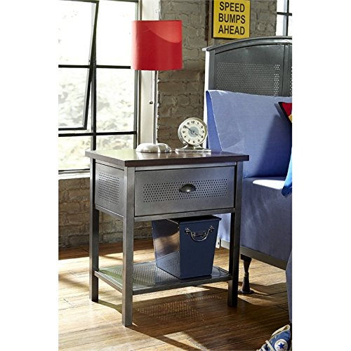 - Hillsdale Furniture 1265-771R Urban Quarters Nightstand Black Steel and Antique Cherry Finished Metal