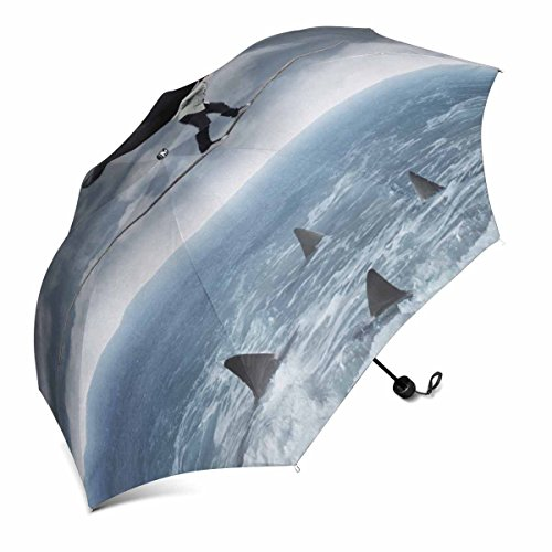 InterestPrint Risky Business Young Asian Man Carrying a Big Elephant on the Rope with Shark Foldable Portable Outdoor Travel Compact Umbrella (43 Inch)