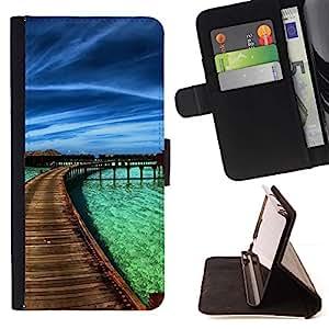 Momo Phone Case / Flip Funda de Cuero Case Cover - Paraíso del Caribe;;;;;;;; - Sony Xperia M5