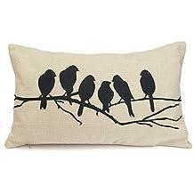 "LSVTR Cotton Linen Cushion Throw Pillow Covers Pillowslip Case Black Birds (12""x20""/30cmx50cm)"