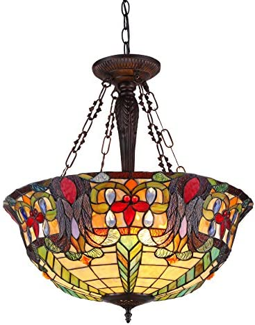 Chloe Lighting CH36466RV22-UH3 Riley Tiffany-Style 3 Light Victorian Inverted Ceiling Pendant Fixture with Shade, 24.6 x 22 x 22 , Multicolor