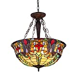 Chloe Lighting CH36466RV22-UH3 Riley - Tiffany-Style 3 Light Victorian Inverted Ceiling Pendant Fixture with Shade - 24.6 x 22 x 22