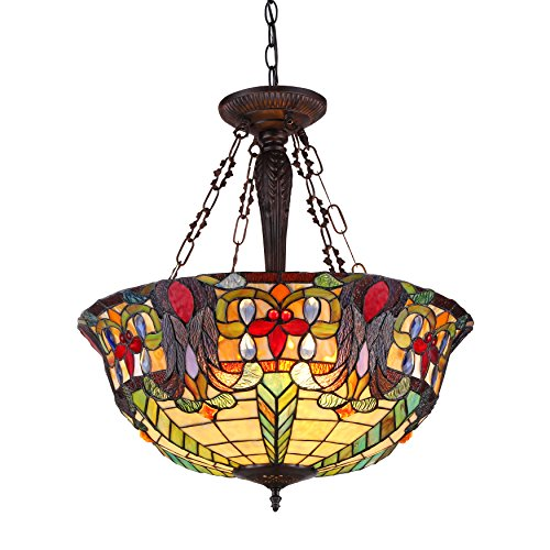 Chloe Lighting CH36466RV22-UH3 Riley Tiffany-Style 3 Light Victorian Inverted Ceiling Pendant Fixture with Shade, 24.6 x 22 x 22