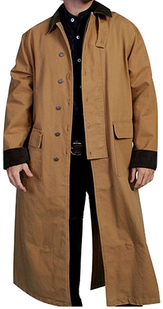 Men's Steampunk Jackets, Coats & Suits Rangewear By Scully Mens Long Canvas Duster $137.37 AT vintagedancer.com