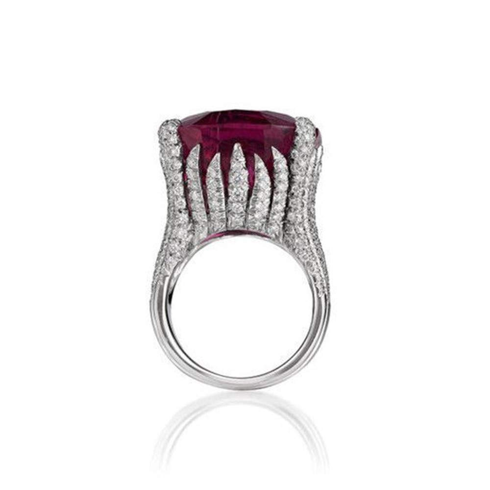 WoCoo Rings Dazzling Fashion Natural Ruby Diamond Antique Ring Valentines Gifts for Women Girls(Silver,Size 7)