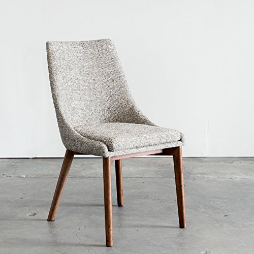 Pascal Dining Chair, Mineral Fabric, Walnut Base, SET of 2 For Sale