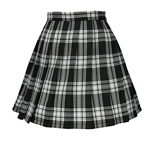 Women`s high waisted plaid short Sexy A line Skirts costumes (2XL, Black mixed white)
