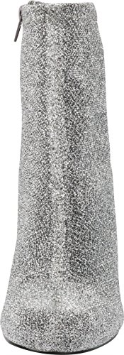 Heel Ankle Bootie Glitter Cambridge Fabric Select Stretch Block Sock Chunky Women's Toe Silver Closed Round 7v71Sq