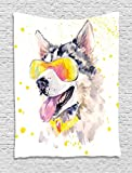 Ambesonne Animal Tapestry by, Funny Husky Dog with Sunglasses Humorous Cute Watercolor Cool Puppy Picture, Wall Hanging for Bedroom Living Room Dorm, 60WX80L Inches, Yellow Grey Beige