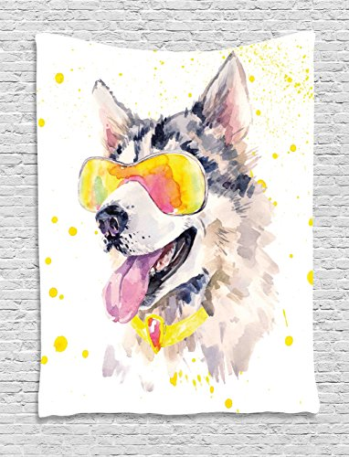 Ambesonne Animal Tapestry by, Funny Husky Dog with Sunglasses Humorous Cute Watercolor Cool Puppy Picture, Wall Hanging for Bedroom Living Room Dorm, 60WX80L Inches, Yellow Grey - Pictures Cute Puppies Of