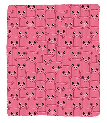 Chaoran 1 Fleece Blanket on Amazon Super Silky Soft All Season Super Plush Pig Decor Collectionmileyquare Faced Little Pigs Eyes Noses Crowd Herd of Animals Pattern Fabric et Pink Bubblegum by chaoran