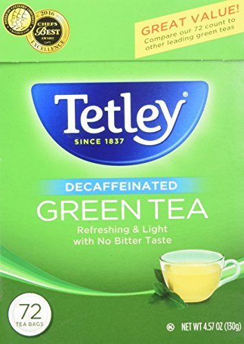 Tetley Tea Decaf (Tetley Green Tea, Decaffeinated ‑ 72 bags, 4.57 oz box)