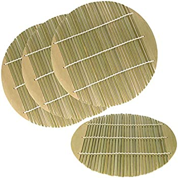 7.8 Inch Dia Green Bamboo Steamer liners Kitchen Mat Rack Steamer Pad Inserts, 4 Pieces