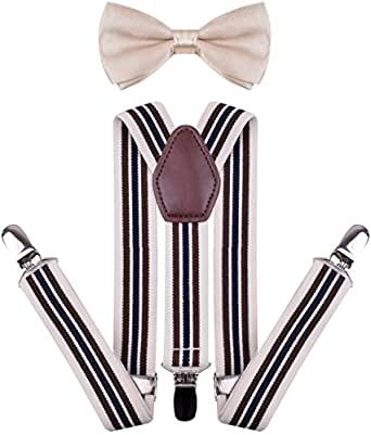 YJDS Men's Boys' Leather Suspenders and Pre Tied Bowtie Set - Beige - Boys 22 Inches(6 months - 3 years)