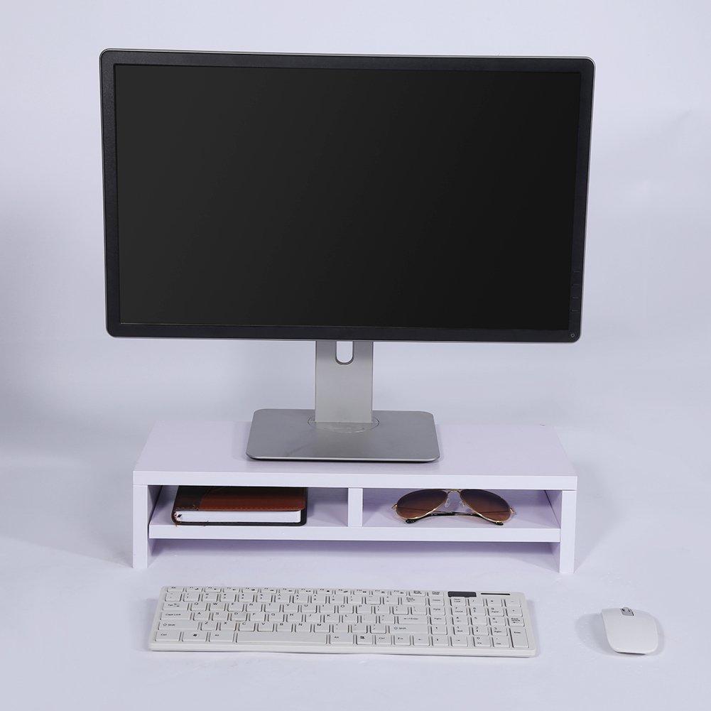 Moniter Riser, Estante para Monitor de Madera de 2 Niveles para TV, PC, Ordenador Portátil, Ordenador, Escritorio, Estante para Oficina y Escritorio ...