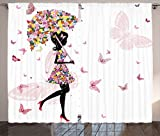Ambesonne Girly Decor Curtains, Girl with Floral Umbrella and Dress Walking with Butterflies Inspirational Artsy Print, Living Room Bedroom Decor, 2 Panel Set, 108 W X 84 L Inches, Pink Black Review