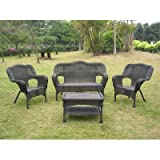 Outdoor Rust & Weather resistant durable premium wicker resin finish Steel 4 Piece Lounge Seating + bonus scalp massage comb tool.
