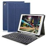 iPad Keyboard Case 9.7 Pencil Holder, Wireless Bluetooth Ultra-Thin Slim Shell Protective Cover Apple iPad Pro 2017/2018 (Dark Blue)