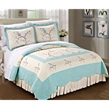Serenta Classic Embroidery Prewashed Microfiber Cotton Filled Bedspread Quilt 3 Piece Bed Set, King, Light Blue Cherry Blossom