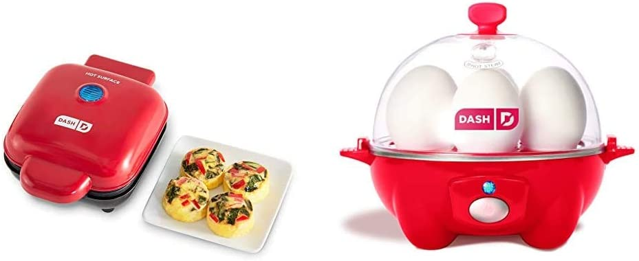 Dash DBBM450GBRD08 Deluxe Sous Vide Style Egg Bite Maker with Silicone Molds (1 large, 4 mini), Red & Rapid Egg Cooker: 6 Egg Capacity Electric Egg Cooker - Red