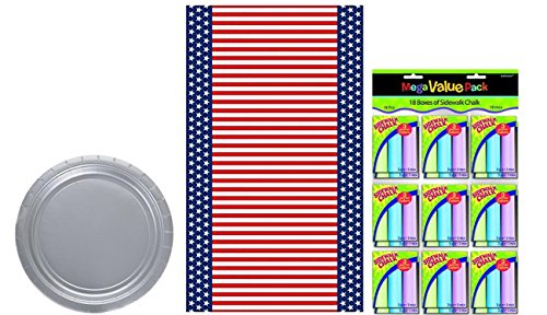 Pack of 50 Amscan Silver Big Party Pack Dessert Plates, Amscan Reusable Patriotic 4th of July Party Table Cover and 18 Pack of 3 Amscan Mega Value Pack Sidewalk Chalk Bundled by Maven Gifts