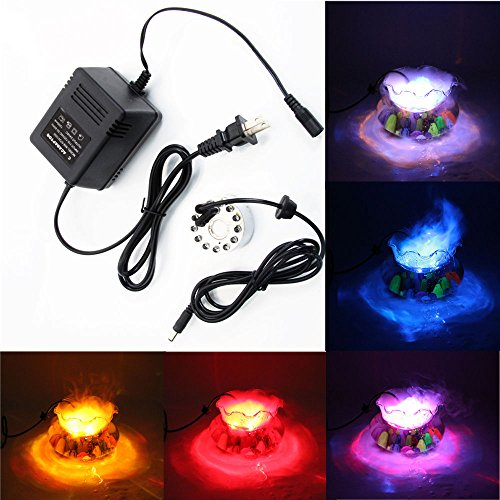 12 LED Mist Maker Fogger Atomizer Air Humidifier Fountain Pond Color Changing (Kit Fogger Pond)