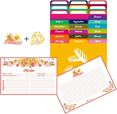 AKSHAYA Pink Floral Recipe Cards and Dividers set - 100 Recipe Cards 4x6 and 25 Divider Tabs. Double Sided Recipe Cards 4x6 helps Organize Recipe Box and Binders.Perfect Gift on Bridal Shower Wedding