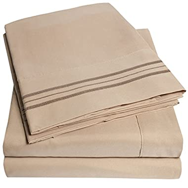 1500 Supreme Collection Bed Sheets - PREMIUM QUALITY BED SHEET SET & LOWEST PRICE, SINCE 2012 - Deep Pocket Wrinkle Free Hypoallergenic Bedding - Over 40+ Colors - 4 Piece, Full, Taupe