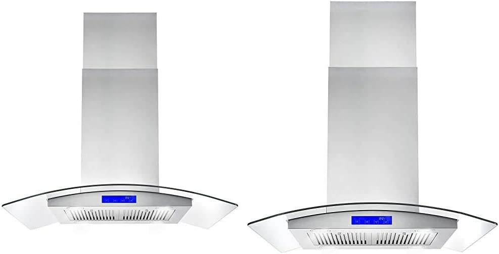 Cosmo 668ICS900 36 in. Ducted Island Range Hood & 668ICS750 30 in. Island Mount Range Hood with 380 CFM, Soft Touch Controls, Permanent Filters, LED Lights, Tempered Glass Visor in Stainless Steel