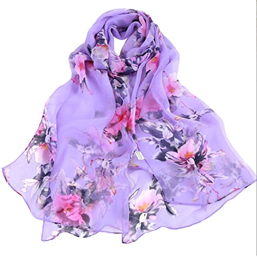 (Women's 100% Chiffon Scarf Neck Fashionable Printing Country Style Lightweight scarves for Ladies and Girls)