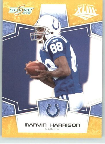 Harrison Indianapolis Colts Super Bowl - 2008 Donruss - Score Limited Edition Super Bowl XLIII Gold Border # 129 Marvin Harrison - Indianapolis Colts - NFL Trading Card