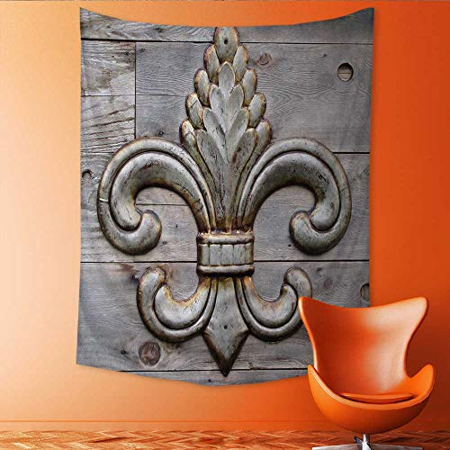 Auraisehome Customed Widened Tapestry tin Fleur de lis Detail Wall Hanging Tapestry 70W x 93L INCH