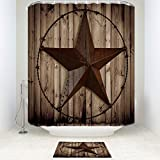 Z&L Home Bathroom Sets with Shower Curtain and Rugs Mildew Resistant-Personalized Western Texas Star Rustic Wood Board
