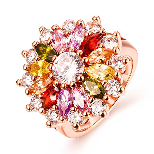 Yellow Chimes Swiss Zircon Multi Color Rose Gold Metal Ring For Women