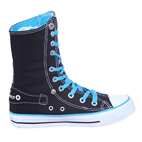 Ny Stil!! High Top Vika Ner Duk Kvinnor Gymnastik Bästa Säljare Blk / Blue