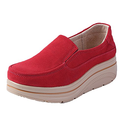 Wide Suede Comfort Top Low Loafers Wedge Red Aon Platform On Women Moccasins Karen Slip Shoes wYqx0zz