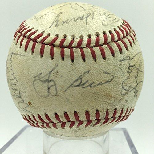 Ny Yankees Team Autographed Baseball - 1985 New York Yankees Team Signed Autographed American League Baseball Berra
