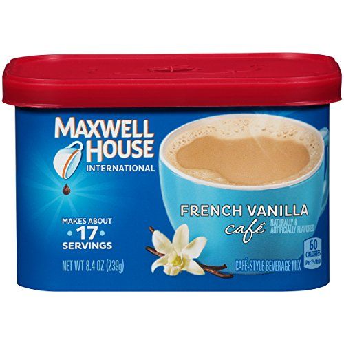 Maxwell House International Cafe Flavored Instant Coffee, French Vanilla, 8.4 Ounce Canister