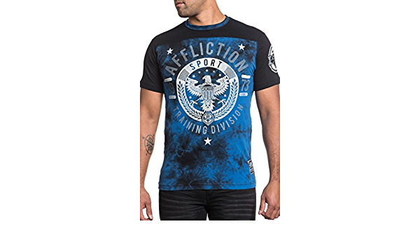 AFFLICTION Victory 73 AS15757 Men`s New Blue//Black Affliction Sport 2017 T-shirt