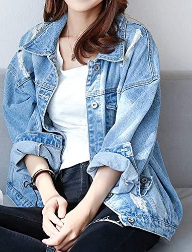 02 Style Bavero Blu Jeans Donna Blau Moda Giovane Festa Giacca Tendenza Relaxed Streetwear Cappotto Ragazze Primaverile Autunno Stile Maniche Lunghe Casual Outwear Elegante wBqvwUWF