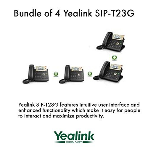 Yealink [4-Pack] T23G IP Phone, 3 Lines. 2.8-Inch Graphical LCD. Dual-Port 10/100 Ethernet, 802.3af PoE, Power Adapter Not Included (SIP-T23G-4)