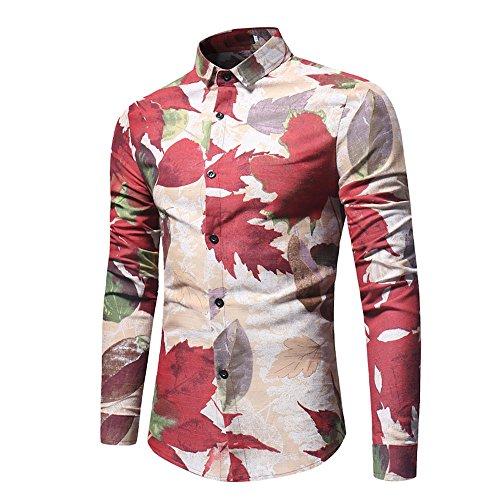 Retro Khaki Shirts (Clearance!! Men Slim Fit Shirt,Lelili Long Sleeve Turn-Down Collar Button Down Floral Print Shirt Tops Business Blouse (XL, Khaki))