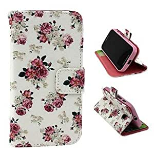 Beautiful Rose Pattern PU Leather Full Body Case with Stand and Money Holder for Motorola Moto E