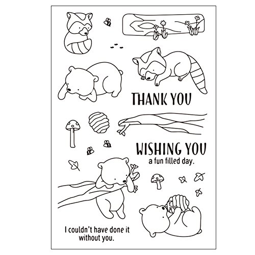 Qweryboo Animal frame stamp dies Transparent clear stamp craft stamp for Card Making Decoration and Scrapbooking (tree climbing bear) by Qweryboo (Image #4)