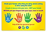 Safety Magnets Hand Washing Instructions for Kids - Classroom Poster - Laminated - 12 x 18 in.